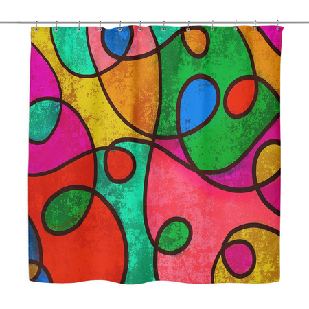 """Blair"" Colorful Abstract, Shower Curtain 70 x 70, Shower Curtains, Home Decor, Home Goods, Bathroom, Bathtub"