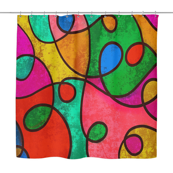 Abstract Colorful Art Print Shower Curtain 70 x 70