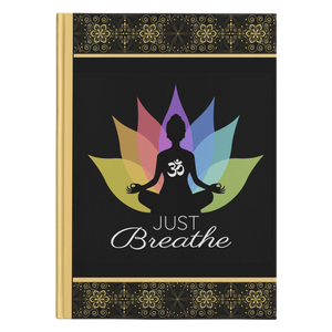 Just Breathe Buddha Om Lotus Hardcover Journal in 2 Sizes - Mind Body Spirit