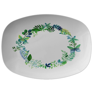Butterfly Wreath Watercolor Designer Platter - Microwave, Dishwasher Safe