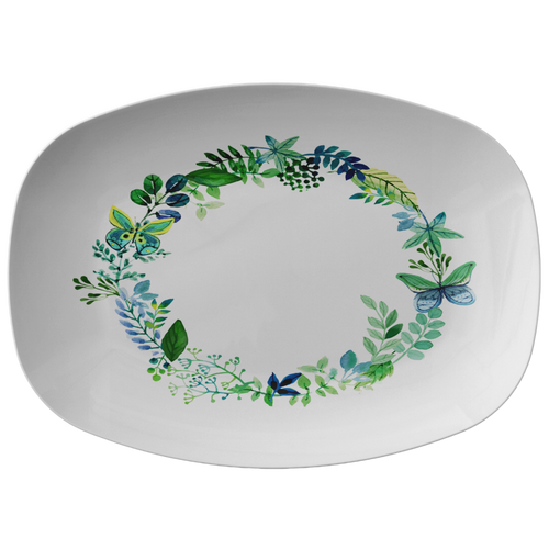 Butterfly Wreath Watercolor Designer Platter - Microwave, Dishwasher Safe - Mind Body Spirit