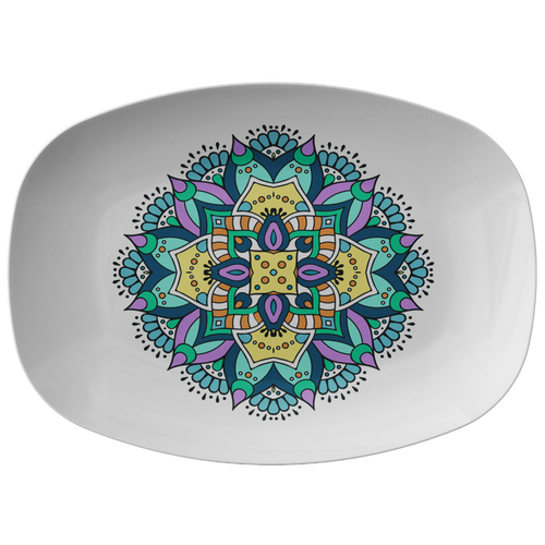 Lovely Della Mandala Designer Platter - Microwave Dishwasher Safe - Mind Body Spirit