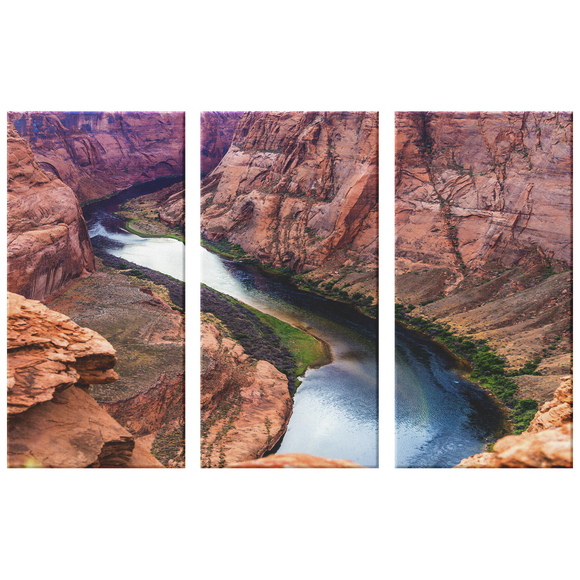 Grand Canyon Horseshoe Bend Beautiful Triptych, 3 Panel Custom Canvas Wall Art Decor, 3 Sizes, Living Room, Dining Room, Bedroom, Office, Family Room