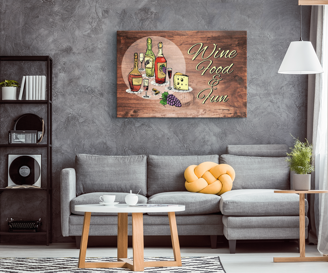 Relaxing Food and Fun Wood Look Designer Canvas Wall Art - Mind Body Spirit