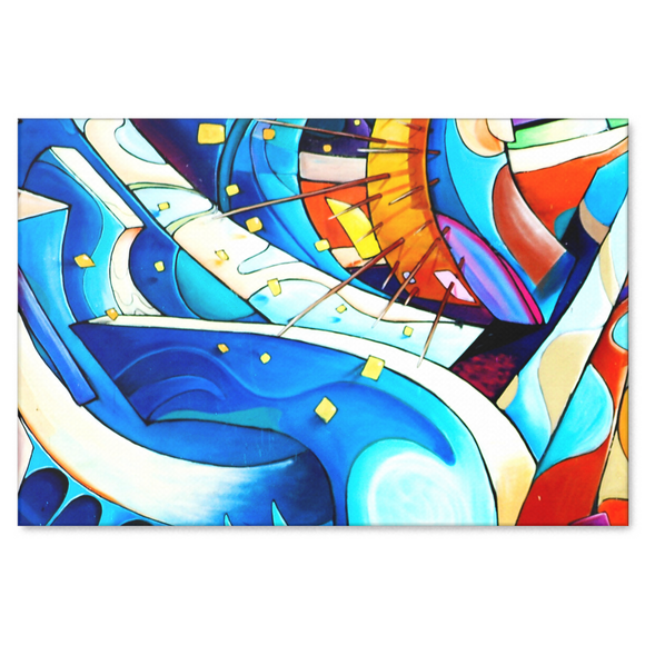 Flowing Colors Abstract Urban Art Design Canvas Wall Art - 4 Sizes