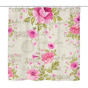 Vintage Postcard Roses Shower Curtain 70 x 70