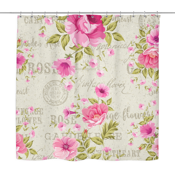 Vintage Postcard Roses Shower Curtain 70 x 70 - Mind Body Spirit
