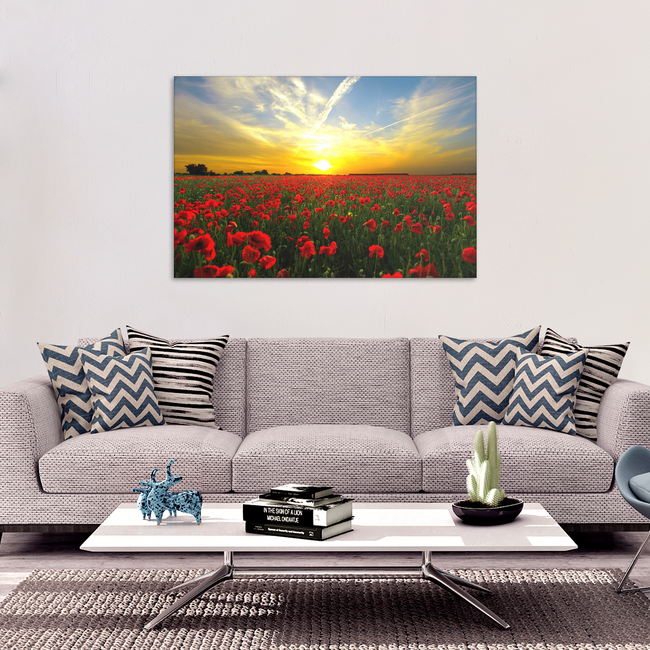 Red Poppies At Sunset Canvas Art - Beautiful Fine Art Available in 4 Sizes, - Mind Body Spirit
