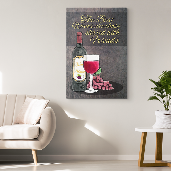 Best Drink Shared With Friends Wood Look Original Canvas Wall Art - Mind Body Spirit