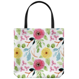 'Joelle' Fresh Watercolor Floral Custom Design Tote Bag 18 x 18 - Mind Body Spirit