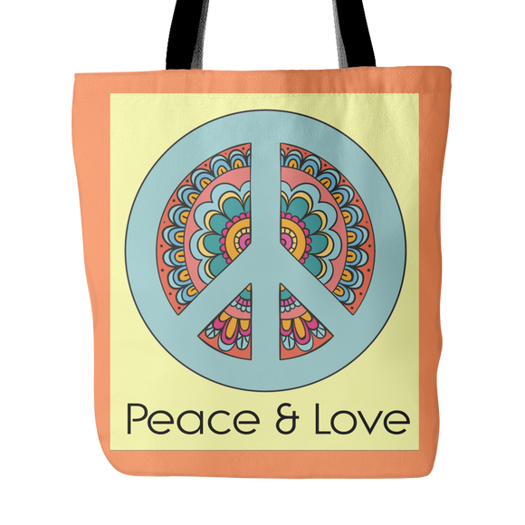 Peace and Love Tote Bag 18 x 18 - Orange, Soft Teal, Gray - Mind Body Spirit