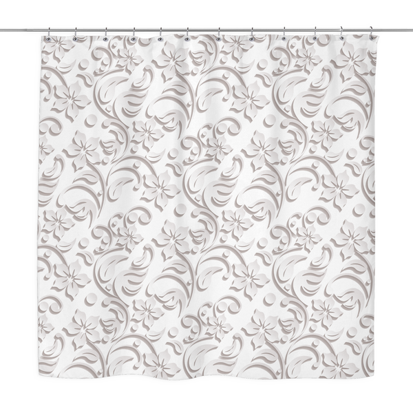 Bria - White Embossed Floral Print Shower Curtain 70 x 70 Grey, Pink, Periwinkle, White, Sage - Mind Body Spirit