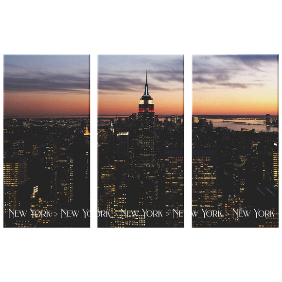 New York City Evening Sunset Triptych 3 Panel Custom Canvas Wall Art, 3 Sizes, Living Room, Bedroom, Family Room, Den, Office