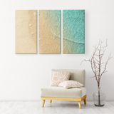 Beach Sand and Water, Triptych Gorgeous 3 Panel Custom Canvas Wall Art, 3 Sizes, Natural Colors, Living Room, Family Room, Bedroom, Den, Office,Bathroom - Mind Body Spirit