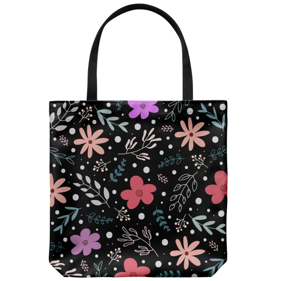 'Andi' Folk Flowers Custom Design Tote Bag 18 x 18 - Mind Body Spirit