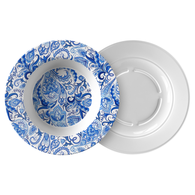 "Vintage Blue and White Paisley Pattern ThermoSāf® Polymer 8.5"" Bowl"