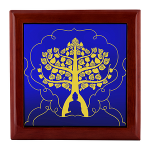 Buddha Tree of Life Gold on Blue Custom Wooden Jewelry Box - 3 Colors