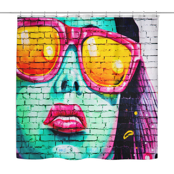 Woman on Wall Urban Shower Curtain 70 x 70