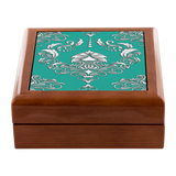 Ornate Damask Pattern Genuine Wood Felt Lined Jewelry Box, 3 Wood Colors, Rings, Bracelets, Necklaces, Keys, Trinkets, - Mind Body Spirit