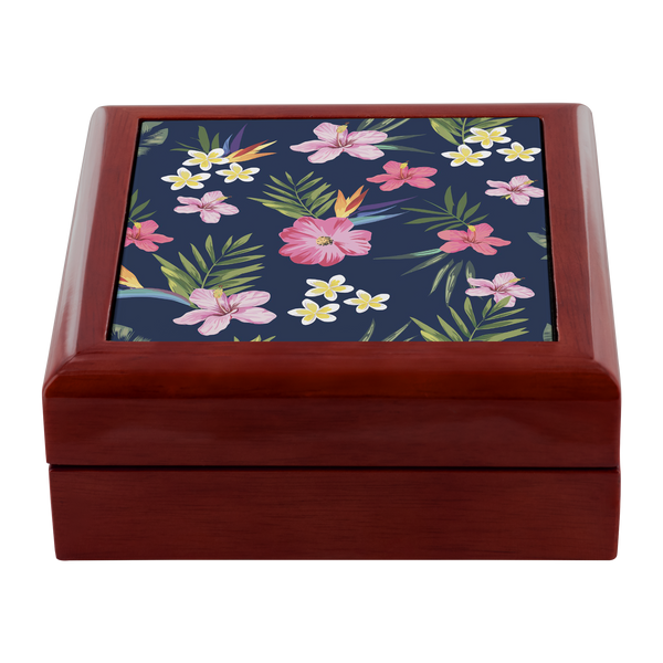 Leilani Fresh Tropical Custom Design Wood Jewelry Box, 3 Colors - Mind Body Spirit