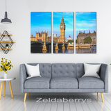 Big Ben London Amazing Triptych 3 Panel Custom Canvas Wall Art, 3 Sizes, Living Room, Bedroom, Family Room, Office, Den, - Mind Body Spirit
