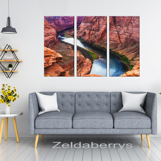 Grand Canyon Horseshoe Bend Beautiful Triptych, 3 Panel Custom Canvas Wall Art Decor, 3 Sizes, Living Room, Dining Room, Bedroom, Office, Family Room - Mind Body Spirit