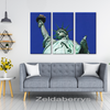Statue Of Liberty-Close Up Triptych 3 Panel Custom Canvas Wall Art, 3 Sizes, Living Room, Family Room, Den, Bedroom, Office - Mind Body Spirit