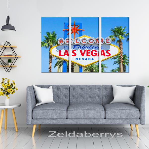 Las Vegas Iconic Sign Triptych 3 Panel Custom Canvas Wall Art, 3 Sizes, Living Room, Family Room, Office, Den, Bedroom, - Mind Body Spirit