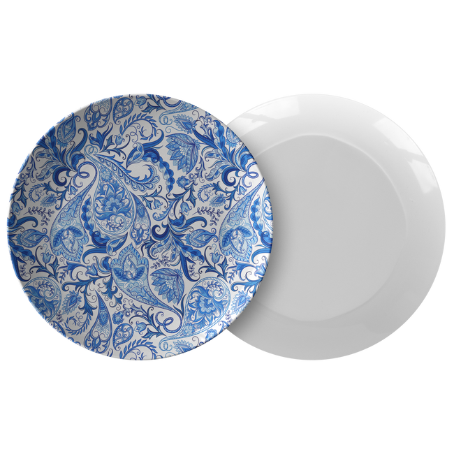 "Vintage Blue and White Paisley Pattern ThermoSāf® Polymer 10"" Plate"