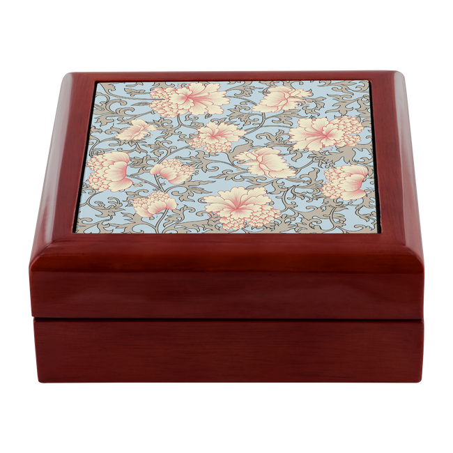 'Trish' Pink Camellia Floral Custom Wooden Jewelry Box in 3 Colors - Mind Body Spirit