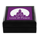 Love and Peace Buddha with Lotus Wooden Jewelry Box - 3 Wood Colors - Mind Body Spirit