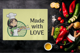 Made With Love Lady Chef Designer Cutting Board - Durable Tempered Glass - Mind Body Spirit