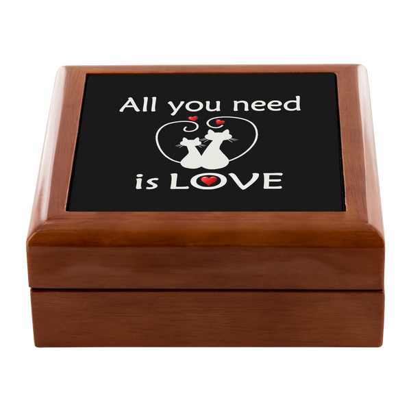 All You Need Is Love Cute Kitties, Original Genuine Wood Felt Lined Jewelry Box, 3 Wood Colors, - Mind Body Spirit