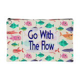 Go With The Flow Cute Fish Accessory Pouch - 2 Sizes, Small 8 x 5 & Large 8 x 12