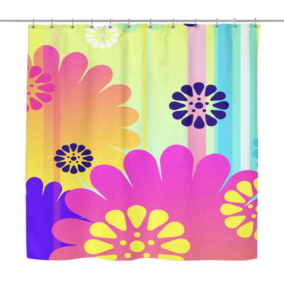 Boho Chic Flowers Hip Print Shower Curtain 70 x 70