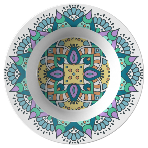 Lovely Della Mandala Designer Bowl 8.5 Inches - Microwave, Dishwasher Safe - Mind Body Spirit