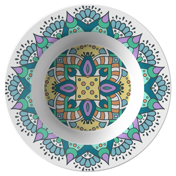 Lovely Della Mandala Designer Bowl 8.5 Inches - Microwave, Dishwasher Safe