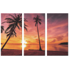 Sunset Palm Trees Beach Triptych  Gorgeous Colors Custom 3 Panel Canvas Wall Art, 3 Sizes,Beach Vacation,Living Room, Family Room, Office, Den, Bedroom,Beach House, - Mind Body Spirit