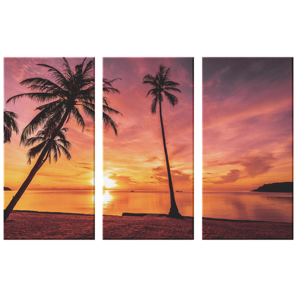 Sunset Palm Trees Beach Triptych  Gorgeous Colors Custom 3 Panel Canvas Wall Art, 3 Sizes,Beach Vacation,Living Room, Family Room, Office, Den, Bedroom,Beach House,