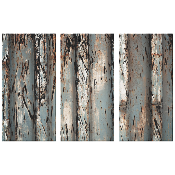 Triptych Worked Metal Rows Textured with Rust, Modern Industrial 3 Panel Canvas Wall Art, Grays, Rust, Black and White, Nice Neutral for Living Room, Family Room, Office