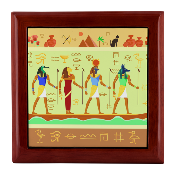 Egyptian Wall Mural Custom Wooden Jewelry Box in 3 Colors