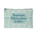 Happiness Blooms From Within Custom Designed Accessory Pouch, 2 Sizes - Mind Body Spirit