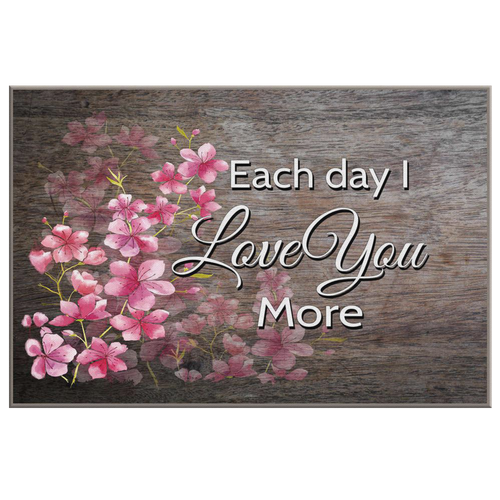 """Each Day I Love You More"" Cherry Blossoms Wood Look Canvas Wall Art - Mind Body Spirit"