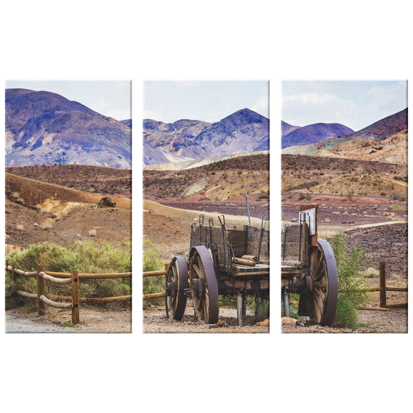 Old Wagon Near Foothills Triptych  3 Panel Canvas Wall Art, Rustic Look, Mountains, Country, Living Room, Family Room, Office, 3 Sizes