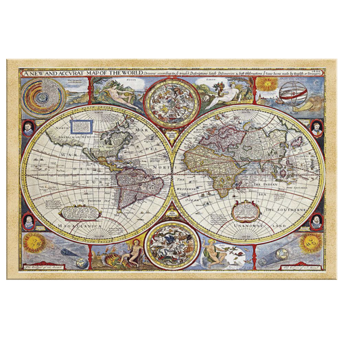 Ancient World Map From 1626 Canvas Wall Art - Mind Body Spirit