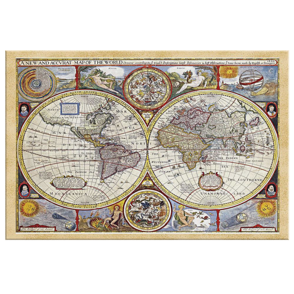 Ancient World Map From 1626 Canvas Wall Art