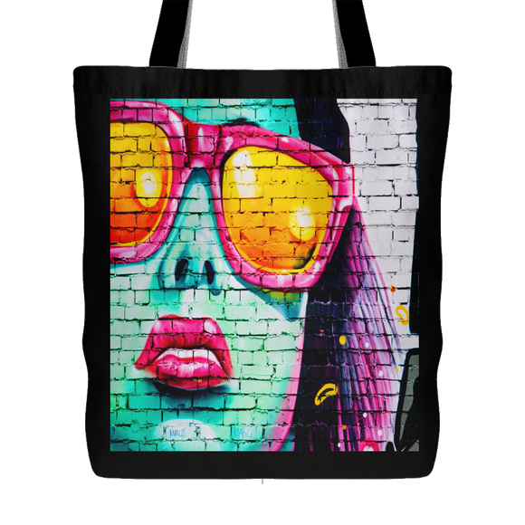 Woman on Wall Urban Art Design Tote 18 x 18 - Black - Mind Body Spirit
