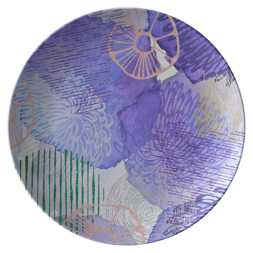 "Cool Abstract Blue Purple ThermoSāf® Polymer 10"" Dinner Plate Microwave Safe"