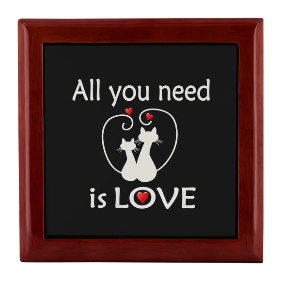 All You Need Is Love Cute Kitties Custom Wooden Jewelry Box in 3 Colors