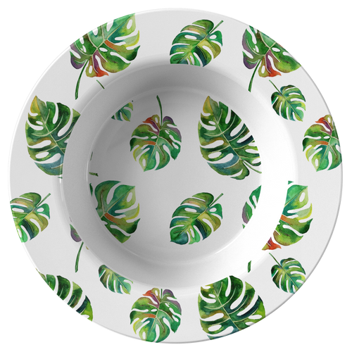 Big Tropical Leaves ThermoSāf® Polymer 8.5 Inch Bowl Microwave Safe